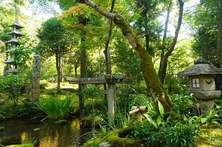 三柱鳥居のある庭園