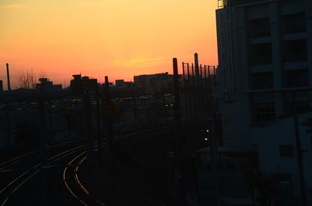 車窓からの夕焼け