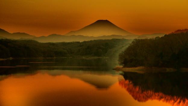 富士夕景屏風画 赤