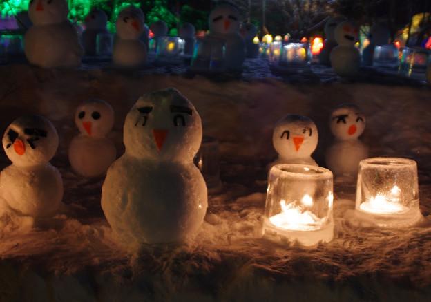 東川町氷まつりにて 雪だるま 夜