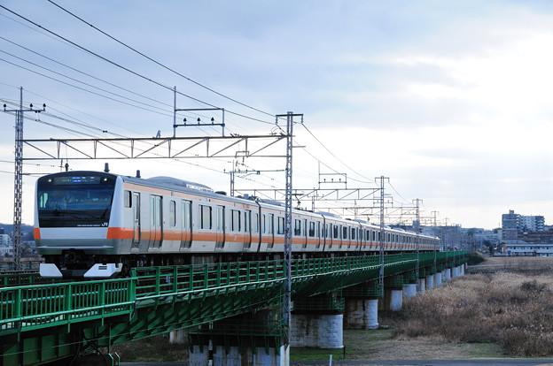 多摩川橋梁を渡るE233系快速電車