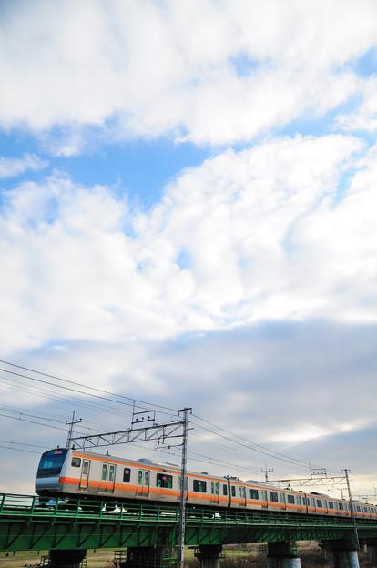 多摩川橋梁を渡る中央線のE233系快速電車
