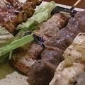 写真: やきとり6本セットは、柚子胡椒ささみ、ハツ塩、豚バラ、鶏皮・ぼんじり・ねぎまのタレがきたよー(^^)v