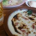 写真: 昼飯は高級イタリアンでサクッと。2人で生ルービー呑んでも1600円弱(^^)v