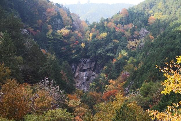 右岸の岩肌に雨現の滝