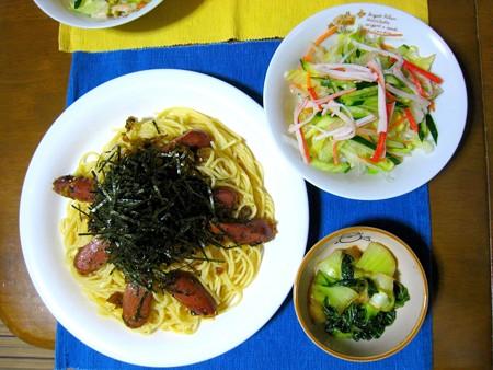高菜とソーセージのスパゲッティ・・・