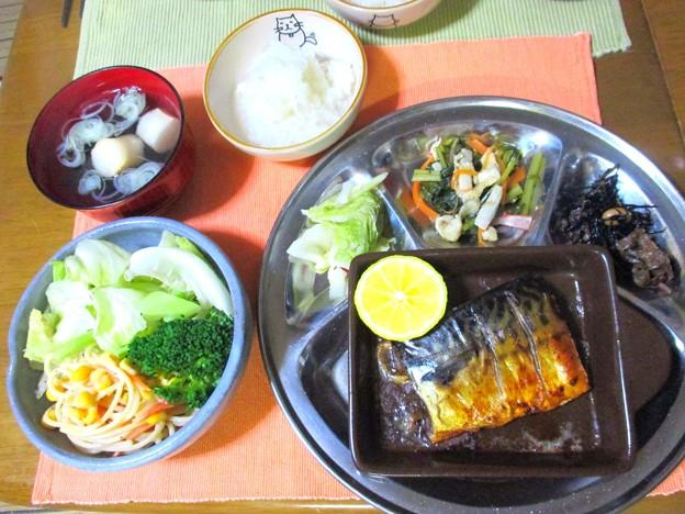 スモーク風鯖定食