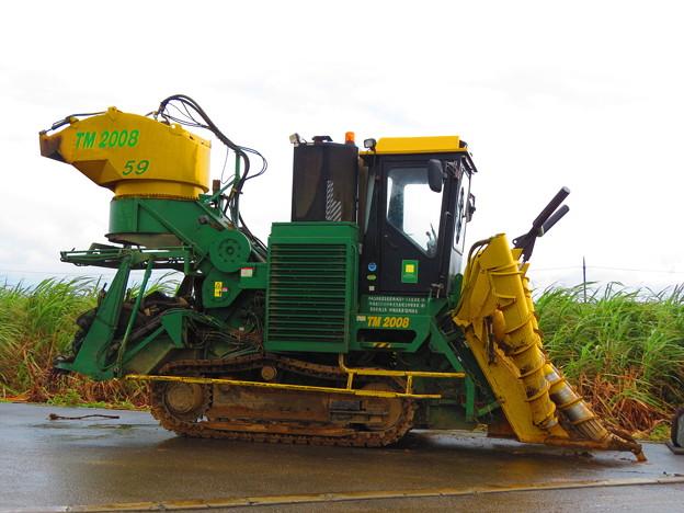写真: サトウキビ収穫マシン