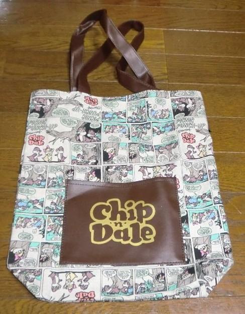 Love Chip N Dale Wポケット付きヴィンテージトートバッグ