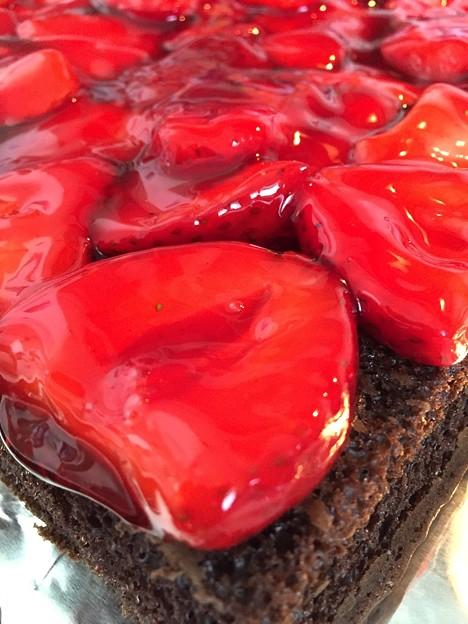 Strawberry filling chocolate cake
