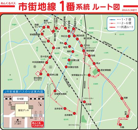 あんくるバス市街地線路線図 - 2014.9.30まで