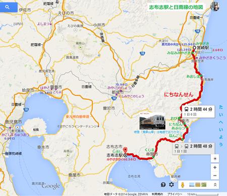 志布志駅と日南線の地図(あきひこ)