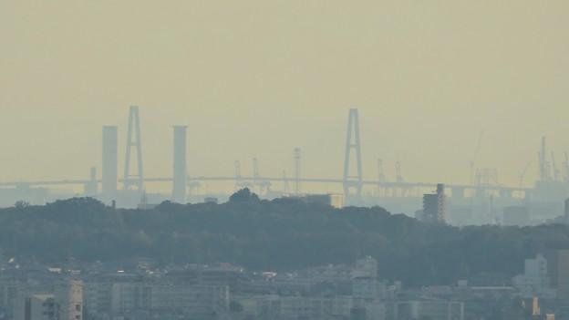 写真: スカイワードあさひ No - 061:展望室からの眺め(名港中央大橋と中部電力・新名古屋火力発電所)