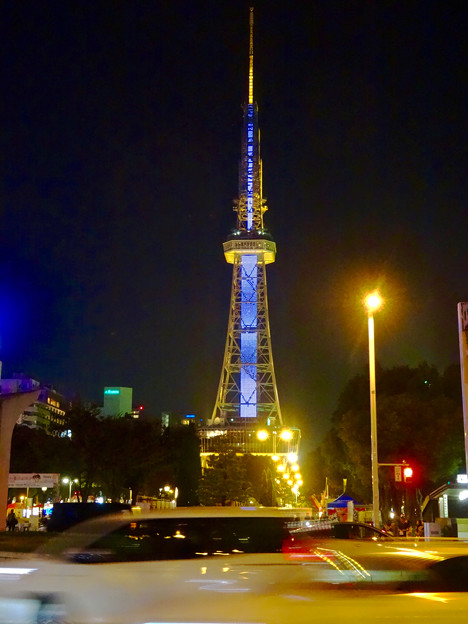 国連創設70周年「国連デー」で青く染まる名古屋テレビ塔 - 4
