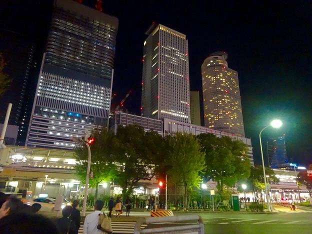 名駅西口から見た、夜の名駅ビル群 - 2
