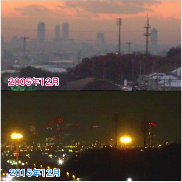 写真: 桃花台ニュータウン(小牧市)から見た名駅ビル群の2005年・2015年比較 - 11