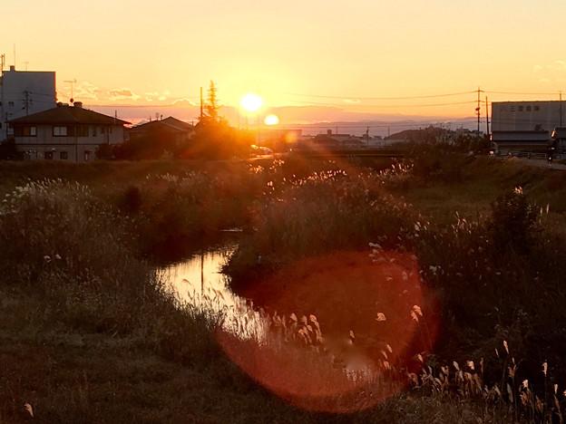 大山川沿いで見た沈む夕日 - 5
