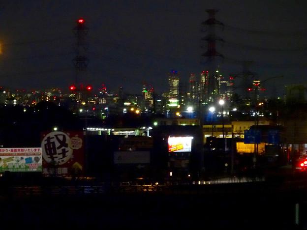 国道19号(春日井市内)から見下ろした、夜の名駅ビル群 - 1