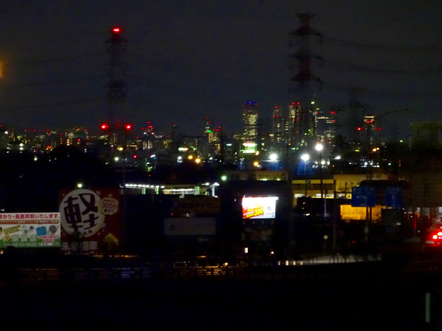 写真: 国道19号(春日井市内)から見下ろした、夜の名駅ビル群 - 1