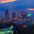 写真: 名古屋城天守閣 最上階から見た、夜の名駅ビル群 - 1