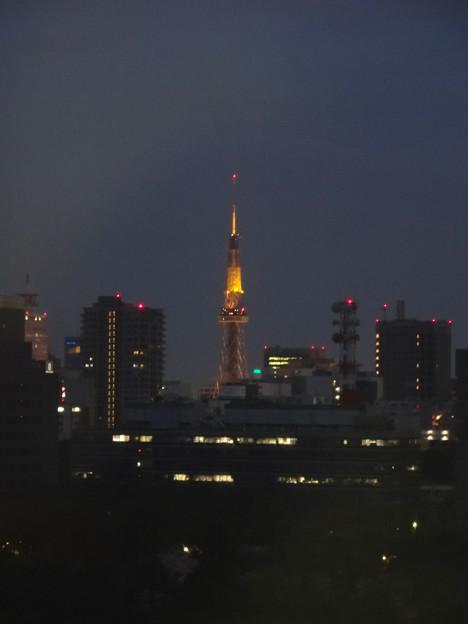 写真: 名古屋城天守閣 最上階から見た、夜の名古屋テレビ塔 - 1
