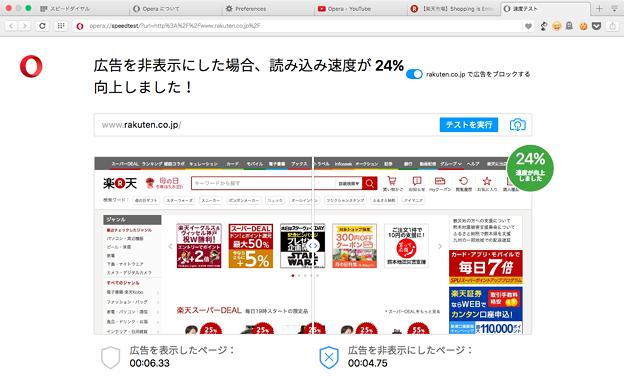 Opera 37:広告ブロック機能が追加 - 8(楽天で速度比較)