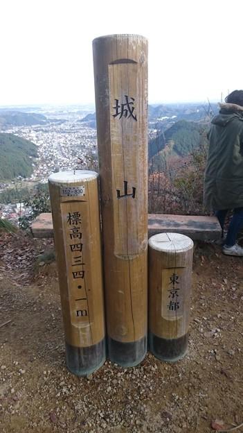 城山の山頂標識 [東京都あきる野市]