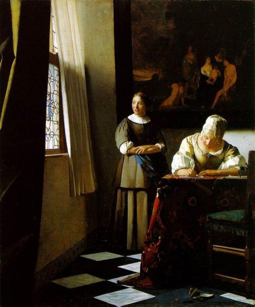 写真: フェルメール-手紙を書く婦人と召使1670