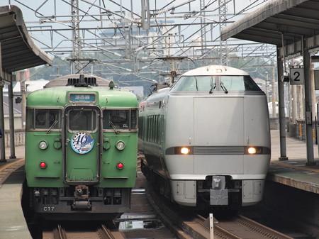683系特急サンダーバードと113系湖西線40周年HM付き普通 湖西線志賀駅