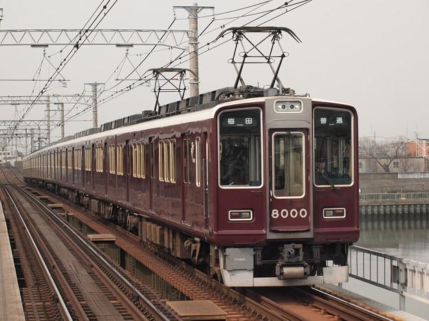 阪急8000系普通 阪急神戸線神崎川駅