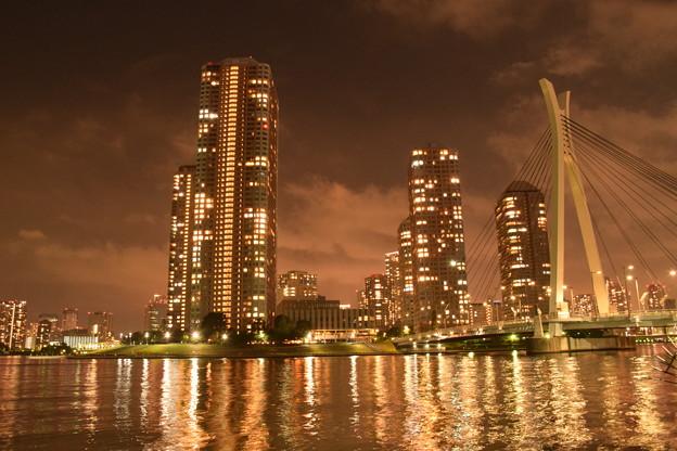 月島・中央大橋と高層ビル群と隅田川(3)