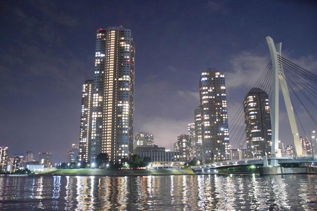 月島・中央大橋と高層ビル群と隅田川(5)
