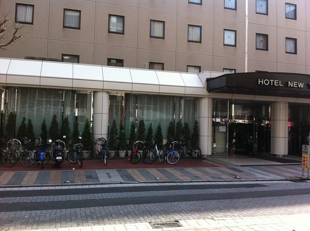 ホテルの前が駐輪場