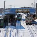 写真: 知床斜里駅にて