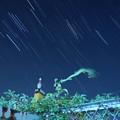 写真: ボーリングピンと星