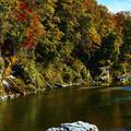 川と小さな滝と紅葉