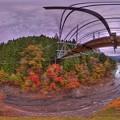 井川湖「夢のつり橋」 紅葉 360度パノラマ写真(2) HDR