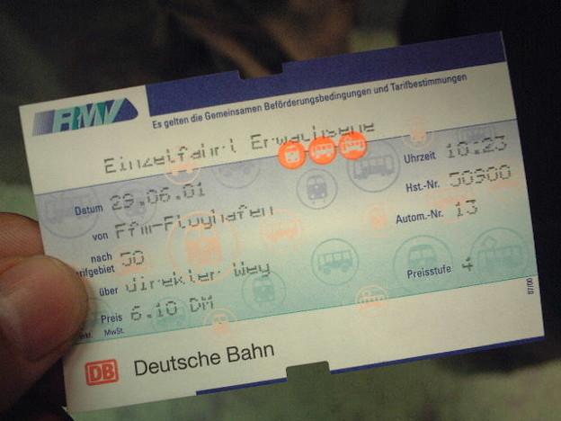 フランクフルトの電車のキップ