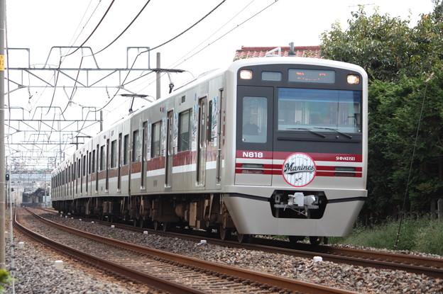 新京成電鉄N800形N818編成 「2014マリーンズ号」ラッピング 松戸行