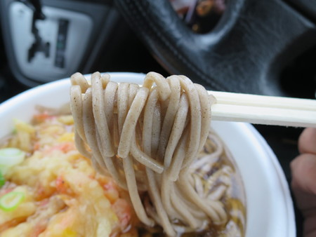 そば&うどん自販機(手打ちそば処ふじさと) 天ぷらそば 麺アップ