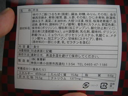 東華軒 金目鯛西京焼弁当@小田原駅 原料等