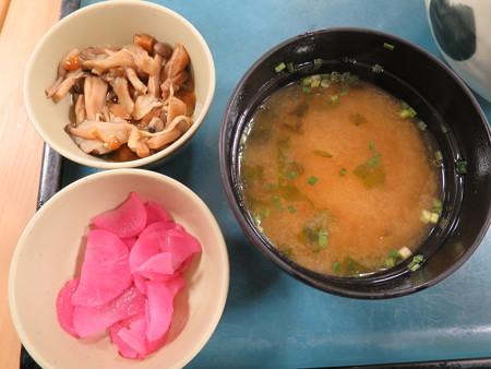 北陸道(上) 米山SAスナックコーナー スタミナ丼 副菜の様子