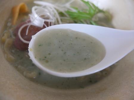 はな禅 2016/04/15Veganランチセット 花膳(限定15食) 麺魂~よもぎの冷製ポタージュ麺~ スープアップ