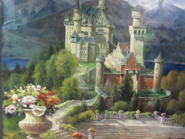 写真: ノイシュバンシュタイン城(トリックアート展で)
