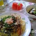 Photos: 明太子(無着色)スパゲティとサラダランチ