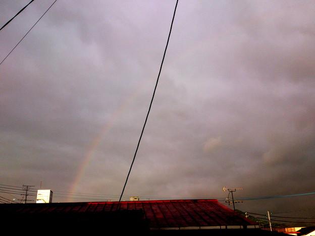 台風の中ちょっとの晴れ間に虹