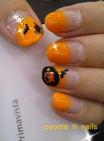 ハロウィンネイル にゃんこかぼちゃとコウモリ