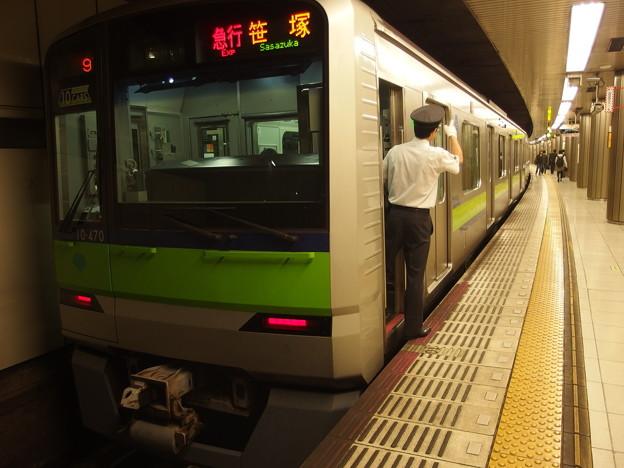 京王新線新宿駅4番線 都営10-470F急行笹塚行き側面よし
