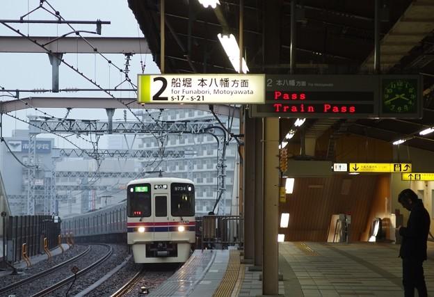 都営新宿線東大島駅2番線 京王9034急行本八幡行き通過入線