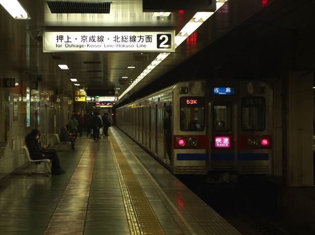 都営浅草線東日本橋駅2番線 京成3638F快速佐倉行き前方確認